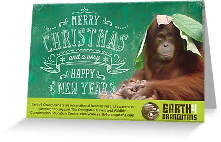 Earth 4 Orangutans Christmas Card by Raw Wildlife Encounters