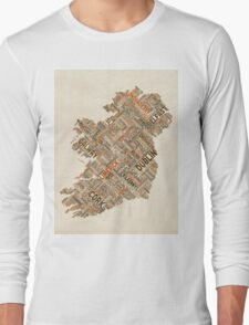 Ireland Eire City Text map Long Sleeve T-Shirt
