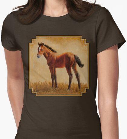 Cute Bay Quarter Horse Foal Womens Fitted T-Shirt
