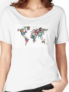 Butterflies Map of the World Women's Relaxed Fit T-Shirt