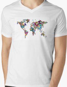 Butterflies Map of the World Mens V-Neck T-Shirt