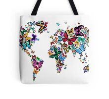 Butterflies Map of the World Tote Bag