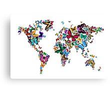 Butterflies Map of the World Canvas Print