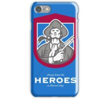 Patriots Day Greeting Card American Patriot With Flintlock Shield iPhone Case/Skin