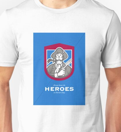 Patriots Day Greeting Card American Patriot With Flintlock Shield Unisex T-Shirt