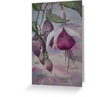 Watercolour: Fuchsia Buds Magenta Greeting Card