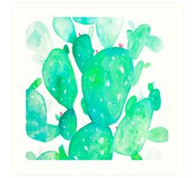 Green Watercolour Cactus Art Print