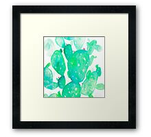 Green Watercolour Cactus Framed Print