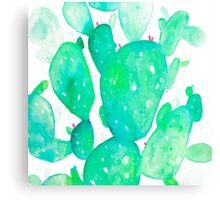 Green Watercolour Cactus Canvas Print