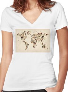 Dogs Map of the World Map Women's Fitted V-Neck T-Shirt