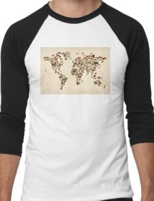 Dogs Map of the World Map Men's Baseball ¾ T-Shirt