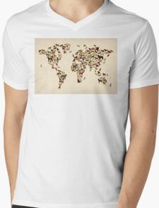 Dogs Map of the World Map Mens V-Neck T-Shirt