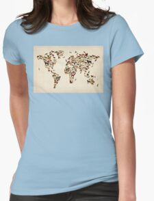 Dogs Map of the World Map Womens Fitted T-Shirt
