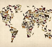 Dogs Map of the World Map by Michael Tompsett