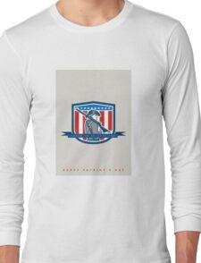 Patriots Day Greeting Card American Patriot Minuteman Musket Rifle Long Sleeve T-Shirt