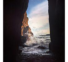 Tenby Rocks Sunset Surf Photographic Print