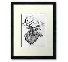Dot Work Tree Heart Framed Print