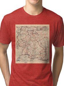June 3 1945 World War II HQ Twelfth Army Group situation map Tri-blend T-Shirt