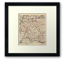 June 3 1945 World War II HQ Twelfth Army Group situation map Framed Print