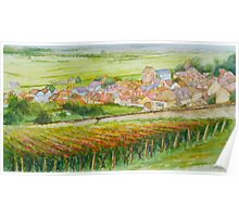 The French village of Epernay and its vineyards in autumn Poster