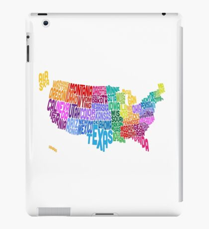 United States Typography Text Map iPad Case/Skin