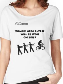 Cycling T Shirt - Zombie Apocalypse Will be Won on Bikes Women's Relaxed Fit T-Shirt