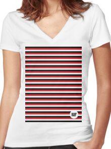 BBG009C — Poles (White) Women's Fitted V-Neck T-Shirt