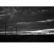 Black and White Wind Turbines Photographic Print