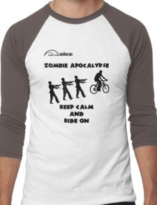 Cycling T Shirt - Zombie Apocalypse - Stay Calm and Ride On Men's Baseball ¾ T-Shirt