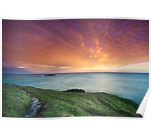 Headland sunset Poster