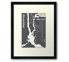 New York City Marathon Map Framed Print