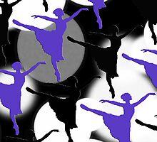 Ballerina Bokeh Light Spots Blue Purple by Patience Miller