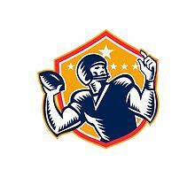 American Football Quarterback QB Woodcut by patrimonio