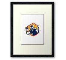 American Football Quarterback QB Woodcut Framed Print