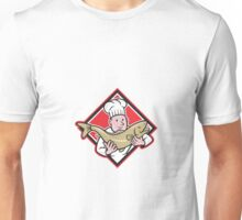 Chef Cook Handling Salmon Trout Fish Cartoon Unisex T-Shirt
