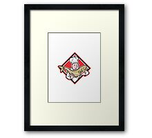 Chef Cook Handling Salmon Trout Fish Cartoon Framed Print