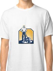 Gardener Mowing Lawn Mower Retro Classic T-Shirt