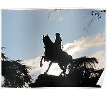 Garibaldi in silhouette, Siena, Italy Poster