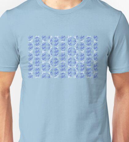 Bike Blue Polka Dot (Small) Unisex T-Shirt