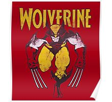 Wolverine Retro Comic Maroon Poster