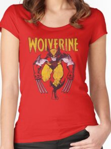 Wolverine Retro Comic Maroon Women's Fitted Scoop T-Shirt