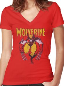 Wolverine Retro Comic Maroon Women's Fitted V-Neck T-Shirt