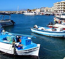 Boats in the harbour, Chania, Greece by Susan Wellington