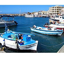 Boats in the harbour, Chania, Greece Photographic Print