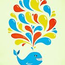 Colorful Happy Cartoon Whale by Boriana Giormova