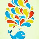 Colorful Happy Cartoon Whale by Boriana Giormova