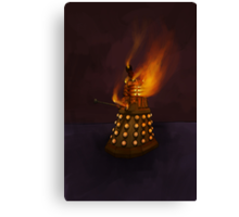 Dr Who Classic Dalek in Flames Canvas Print