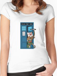 Adventure Time Lord Generation 10 - TARDIS Women's Fitted Scoop T-Shirt