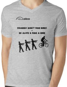 Cycling T Shirt - Zombies Don't Ride Bikes - Be Alive & Ride a Bike Mens V-Neck T-Shirt