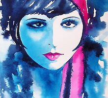 Clara Bow Original Watercolor Portrait 1920's Flapper It Girl Pink Art Deco by KimberlyGodfrey